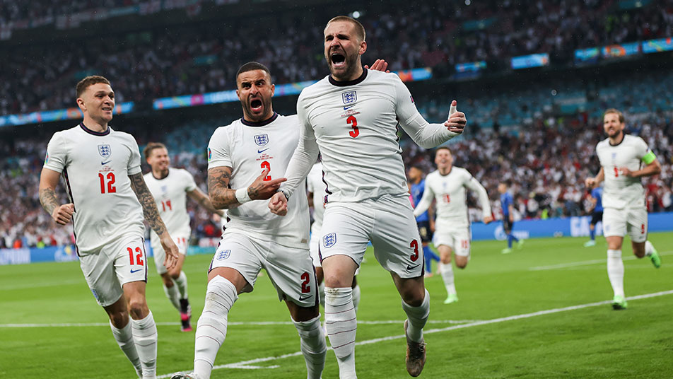 Luke Shaw's first international goal put England ahead at Wembley in the EURO 2020 Final