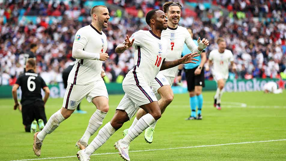 Raheem Sterling celebrates his opening goal at Wembley, his third strike of EURO 2020