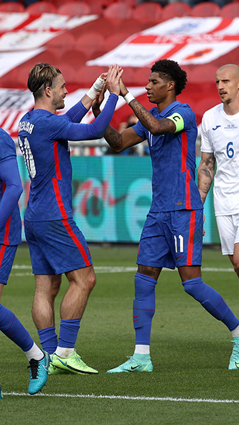 England's Marcus Rashford celebrates