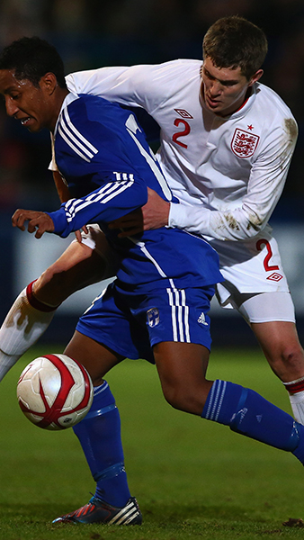 John Stones in action with England MU19s