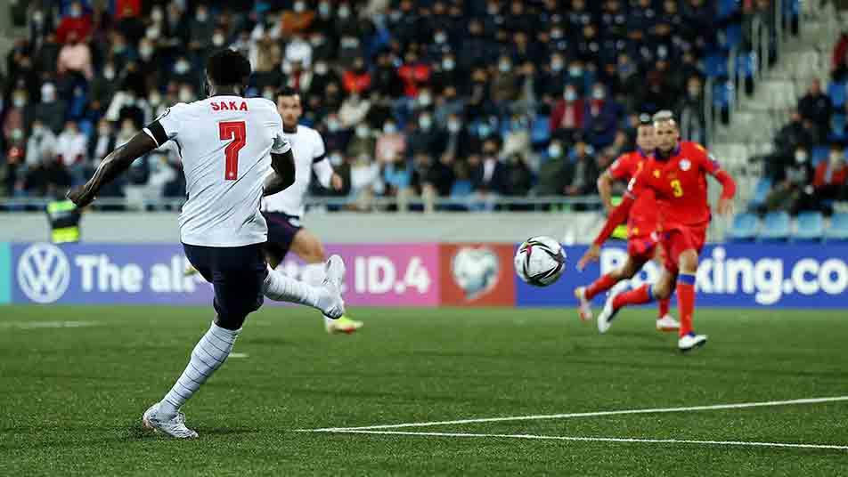 Bukayo Saka strikes home England's second goal of the game