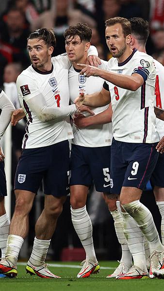 England celebrate John Stones' goal against Hungary at Wembley