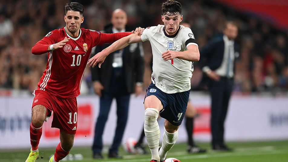 Declan Rice looks to advance forward from midfield as England searched for a winning goal