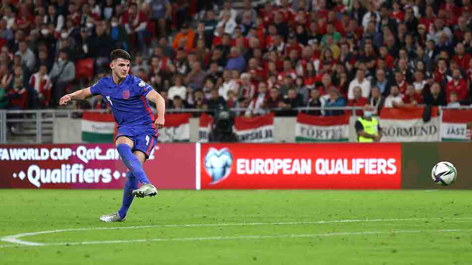 Declan Rice slots home England's fourth of the night to register his second goal for the Three Lions
