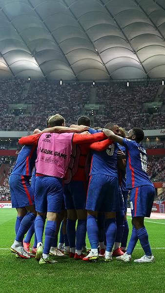 England celebrate Harry Kane's goal in Poland