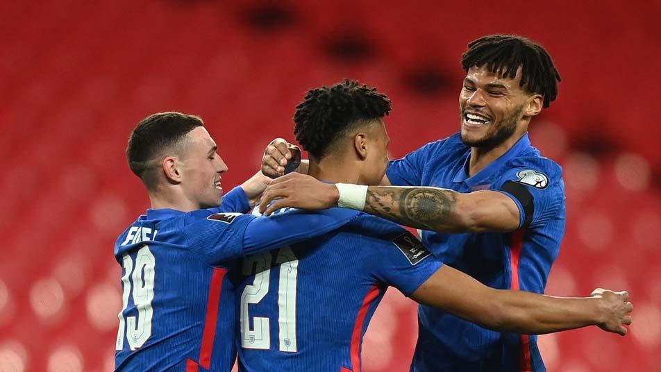Ollie Watkins celebrating his debut England goal