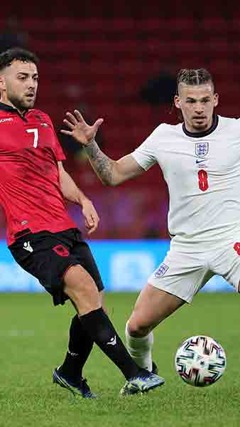 England's Kalvin Phillips in action against Albania