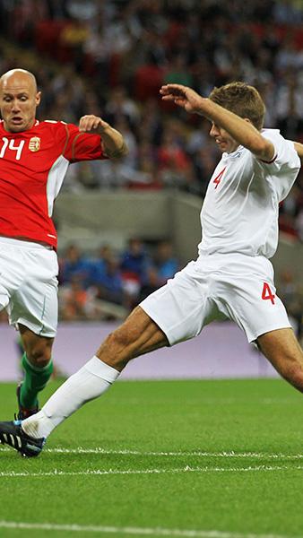 Steven Gerrard in action against Hungary in 2010