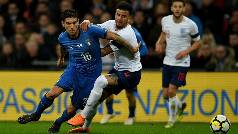 Kyle Walker in action against Italy at Wembley in 2018, the last time the nations faced off at the national stadium
