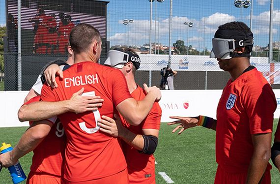 England's blind team celebrate
