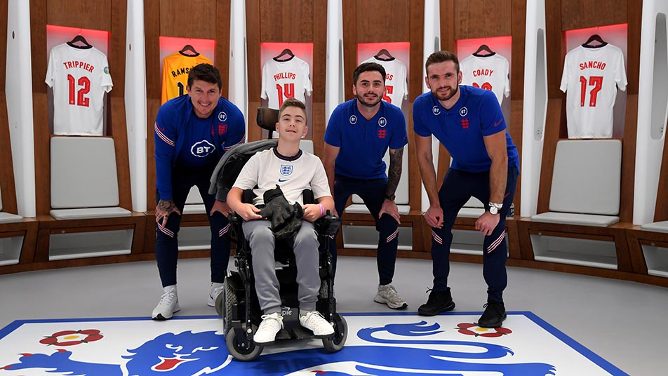 England CP players Matt Crossen,David Porcher and Giles Moore with 13-year-old Rhys Porter, who has cerebral palsy and has been raising money and awareness of the condition