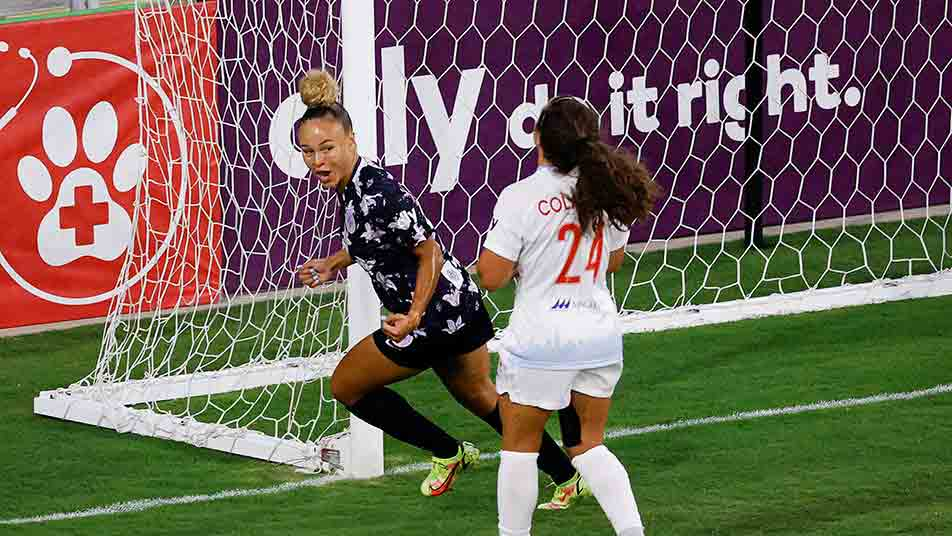 Ebony Salmon scoring for Racing Louisville FC against Chicago Red Stars in The Women's Cup earlier this year.