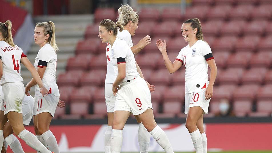 Ella Toone celebrates scoring the first goal of the Sarina Wiegman era