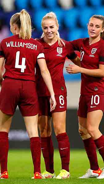 England Women celebrate against Luxembourg