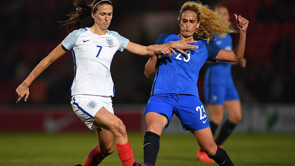 Jill Scott in action against France during England Women's last visit to Doncaster in 2016