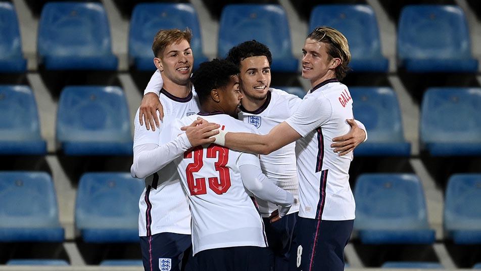 England men's under-21s celebrate their winning goal against Andorra