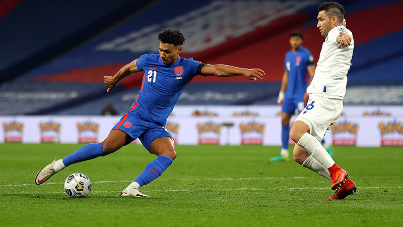England's Ollie Watkins strikes home his first goal for England