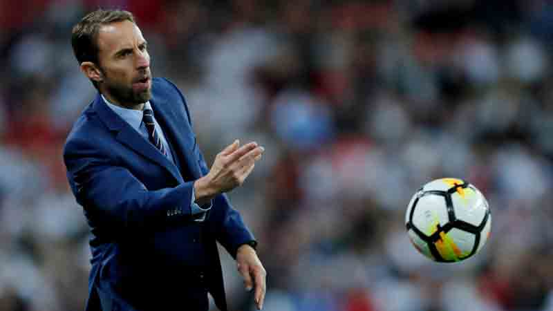 England manager Gareth Southgate returns the ball in his side's game with Slovenia at Wembley