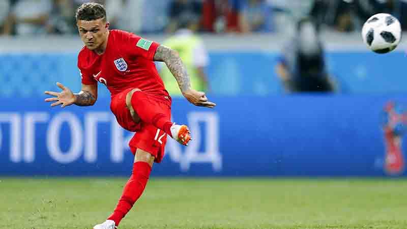 England's Kieran Trippier takes a free-kick against Tunisia