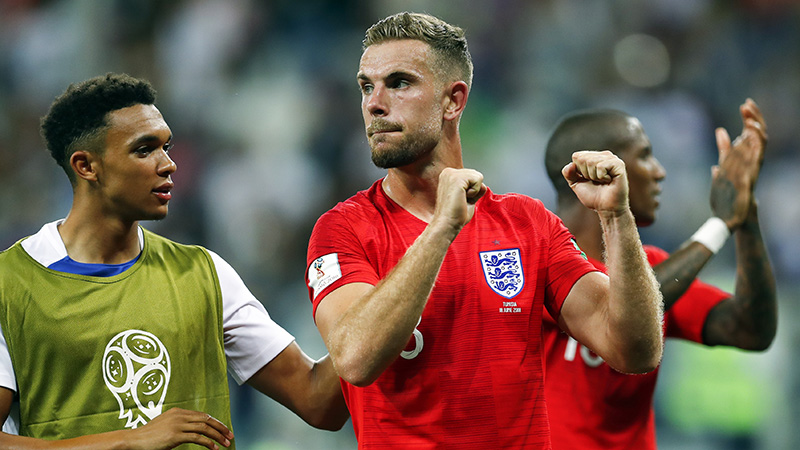 Jordan Henderson applauds the fans after England's win over Tunisia