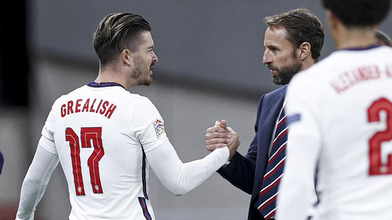England manager Gareth Southgate with Jack Grealish