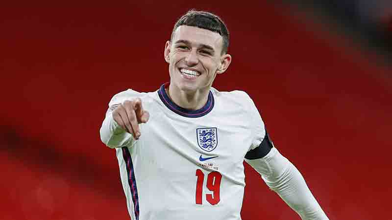 England's Phil Foden celebrates his first goal