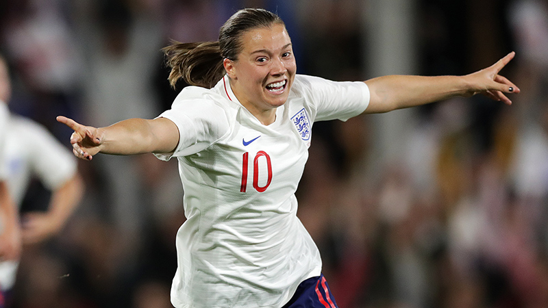 Fran Kirby celebrates her goal against Australia in October 2018