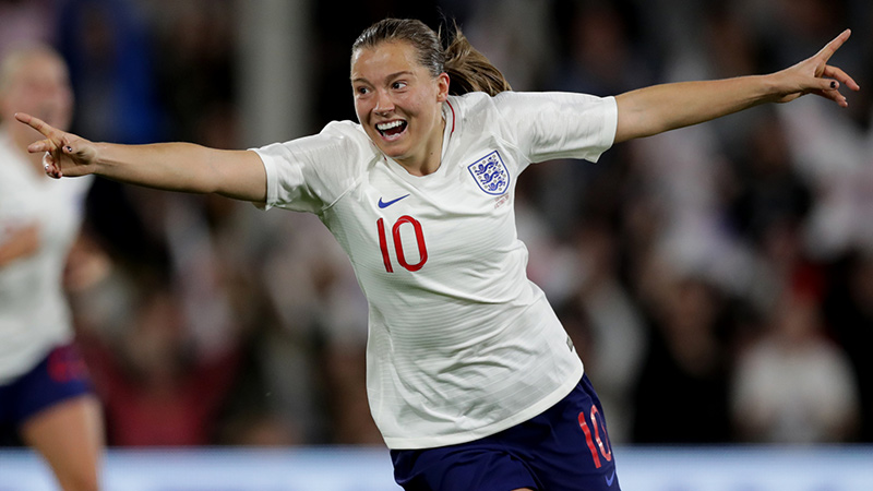 Fran Kirby celebrates after scoring against Australia