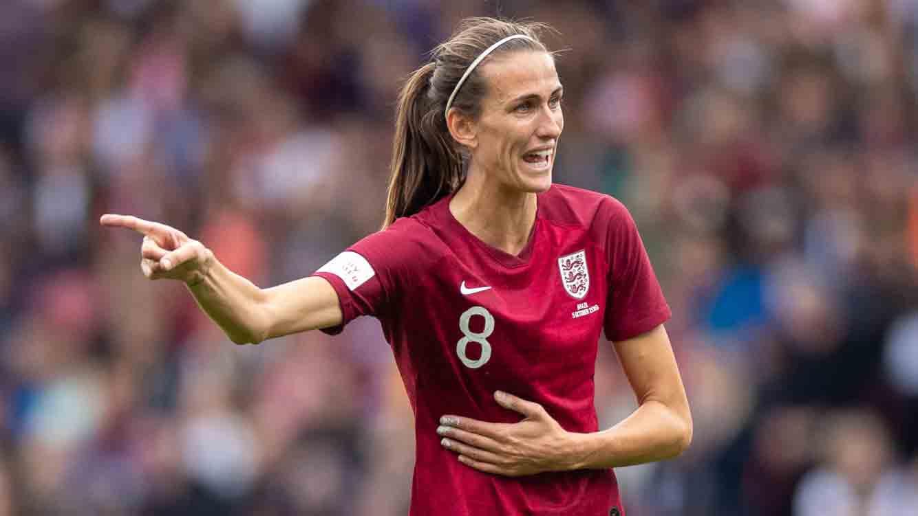 Jill Scott during England Women's defeat to Brazil in Middlesbrough