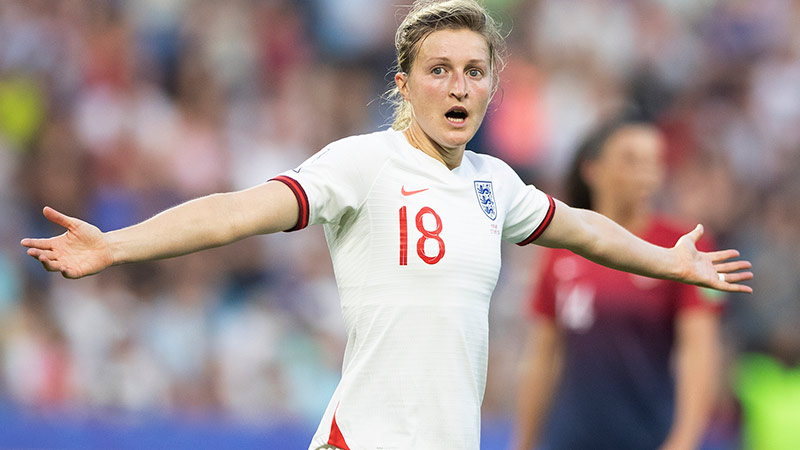 Ellen White celebrates her strike against Norway at the 2019 World Cup