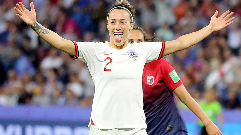 Lucy Bronze celebrates her goal against Norway at the 2019 FIFA Women's World Cup