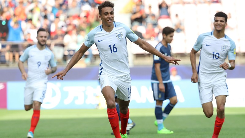 Dominic Calvert-Lewin celebrates after scoring England's first goal against Argentina